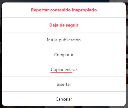 copiar enlace instagram